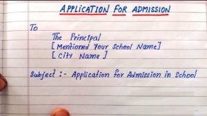 Application For Admission in School